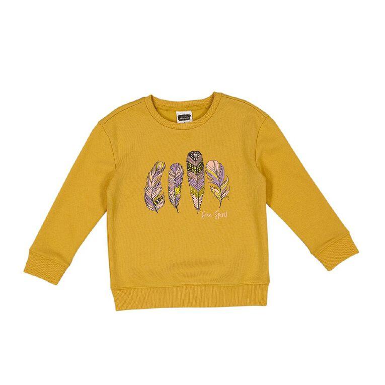 Young Original Printed Pullover Crew Sweatshirt, Yellow Dark, hi-res