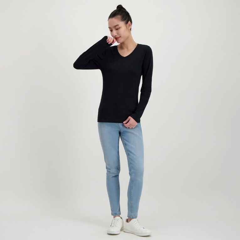 H&H Women's Long Sleeve V Neck, Black, hi-res