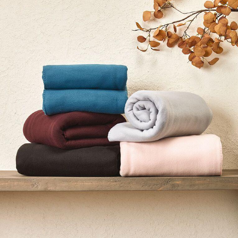Living & Co Blanket Polar Fleece Black Queen, Black, hi-res