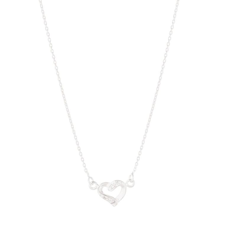 Sterling Silver Heart CZ, , hi-res