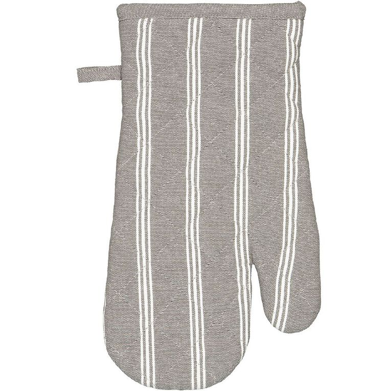 Living & Co Single Oven Glove Country Stripe Charcoal, , hi-res