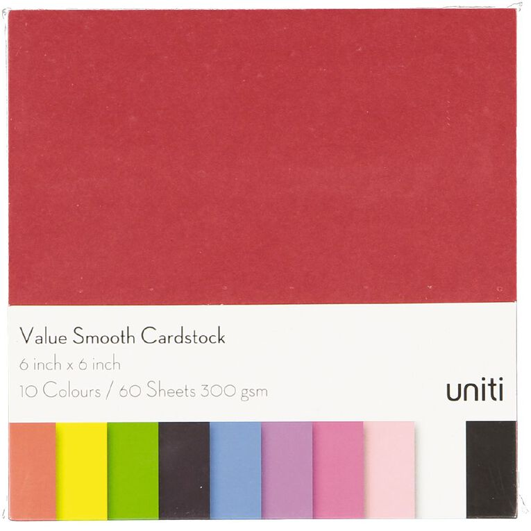 Uniti Value Cardstock Smooth 220gsm Bright's 60 Sheets 6in x 6in, , hi-res