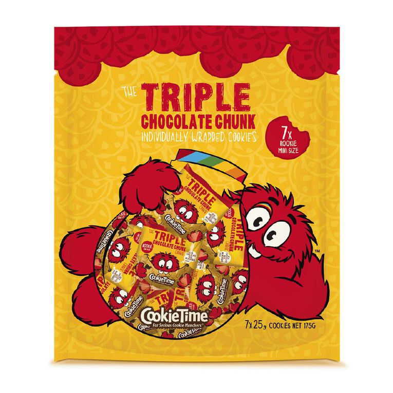 Cookie Time Triple Chocolate Rookie Cookies 175g (7x25g), , hi-res