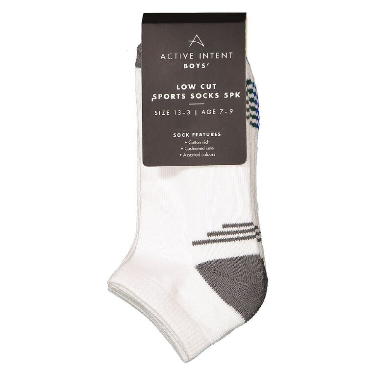 Active Intent Boys' Low Cut Sports Socks 5 Pack, White, hi-res