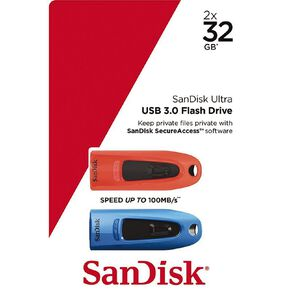 Sandisk Ultra USB 3.0 Flash Drive Dual Pack - 32GB Red/Blue