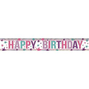 Amscan Happy Birthday Banner Holographic Pink 2.7m