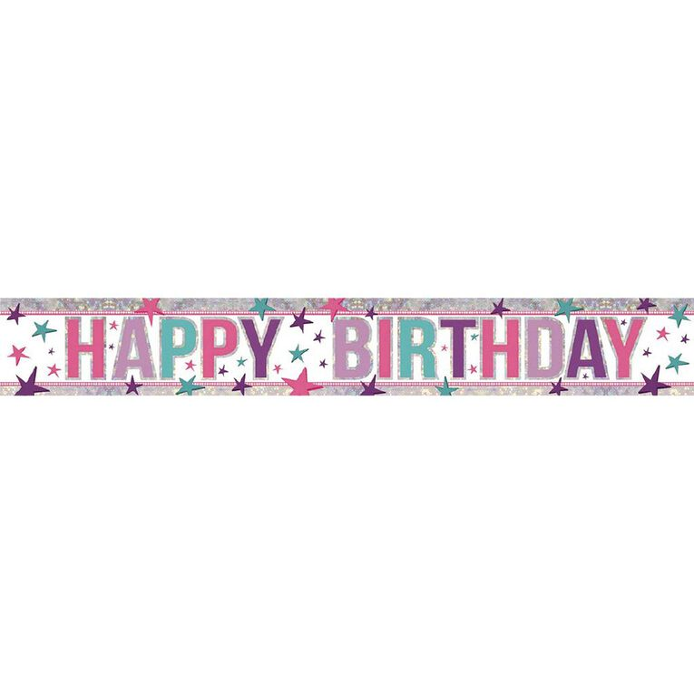 Amscan Happy Birthday Banner Holographic Pink 2.7m, , hi-res