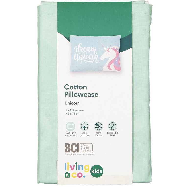 Living & Co Kids Pillowcase 180 Threadcount Unicorn Blue 48cm x 73cm, Blue, hi-res