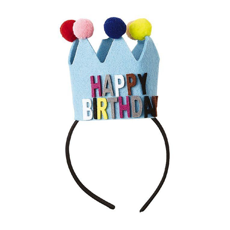 Party Inc Happy Birthday Felt Headband Multi-Coloured, , hi-res