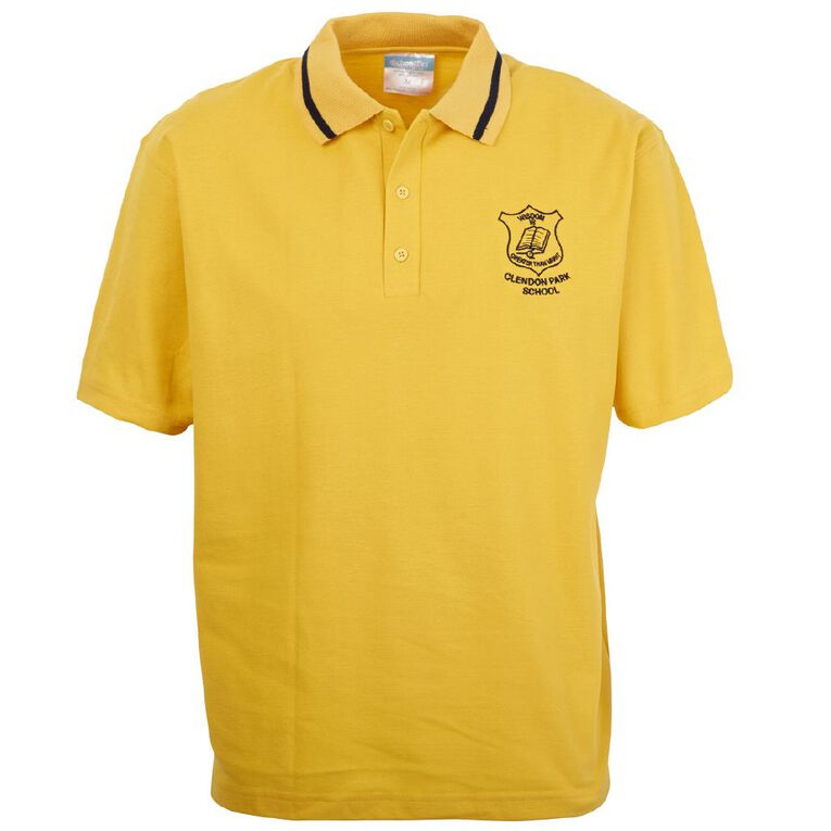 Schooltex Clendon Park Short Sleeve Polo with Embroidery, Gold/Navy, hi-res