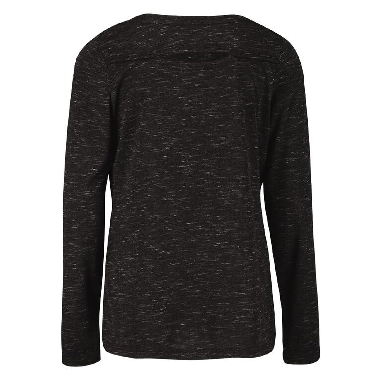 Active Intent Girls' Long Sleeve Back Cut Tee, Grey Dark, hi-res image number null