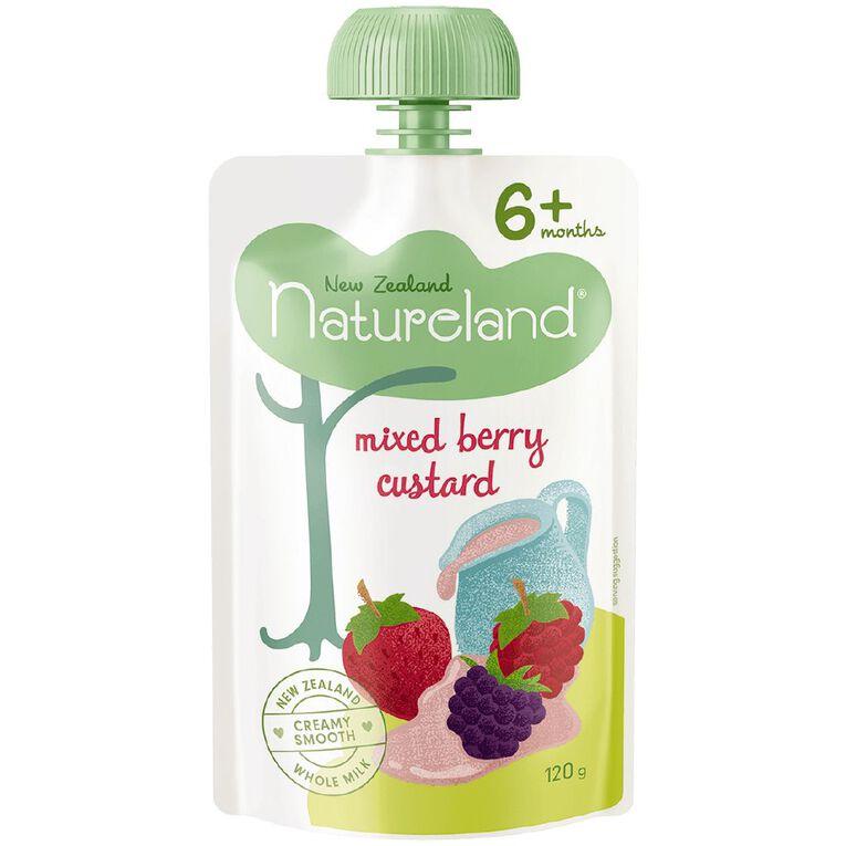 Natureland Mixed Berry Custard Pouch 120g, , hi-res