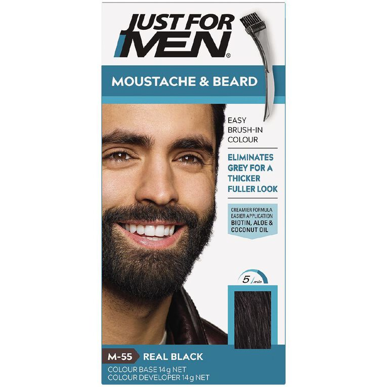 Just For Men Moustache and Beard Real Black, , hi-res