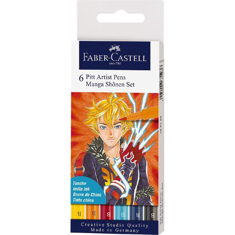 Faber-Castell Pitt Artists Pens Manga Shonen 6 Pack, , hi-res