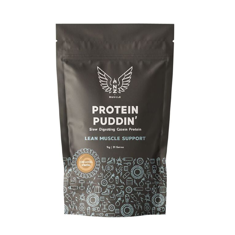 NZ Muscle Protein Puddin Caramel Swirl 1Kg, , hi-res