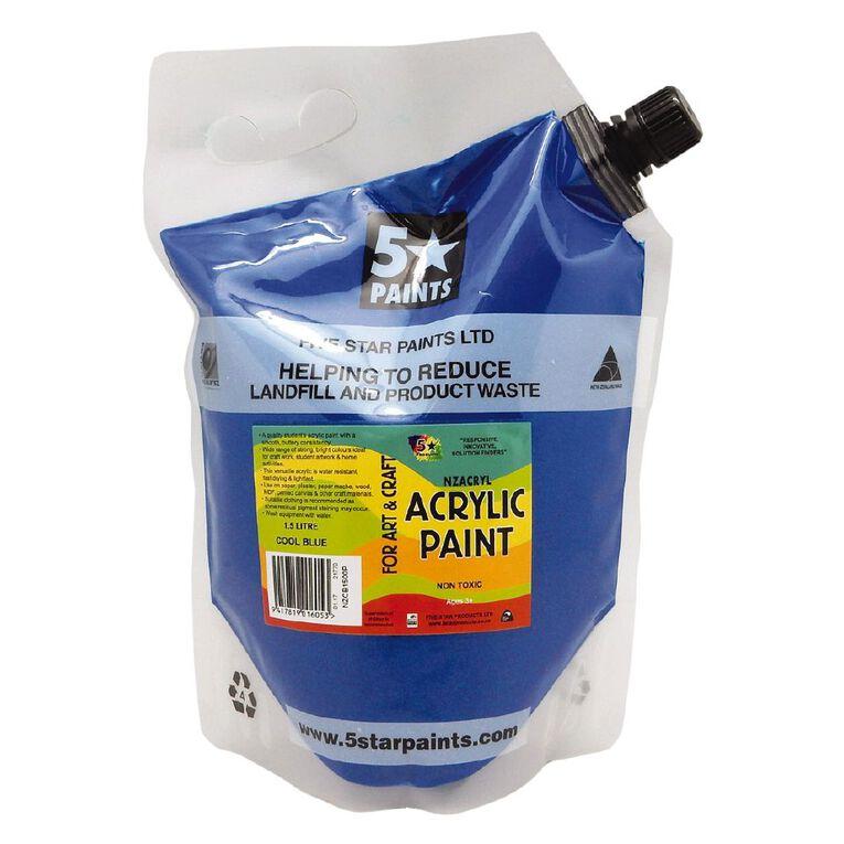 Fivestar Acrylic Paint Cool Blue 1.5 litre Pouch, , hi-res