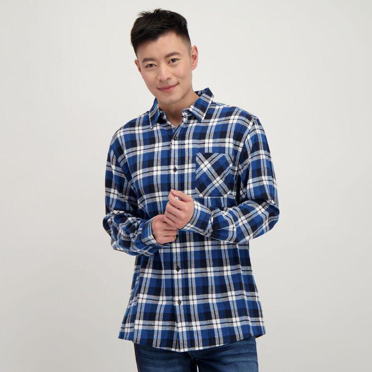 H&H Long Sleeve Flannelette Shirt, Blue, hi-res