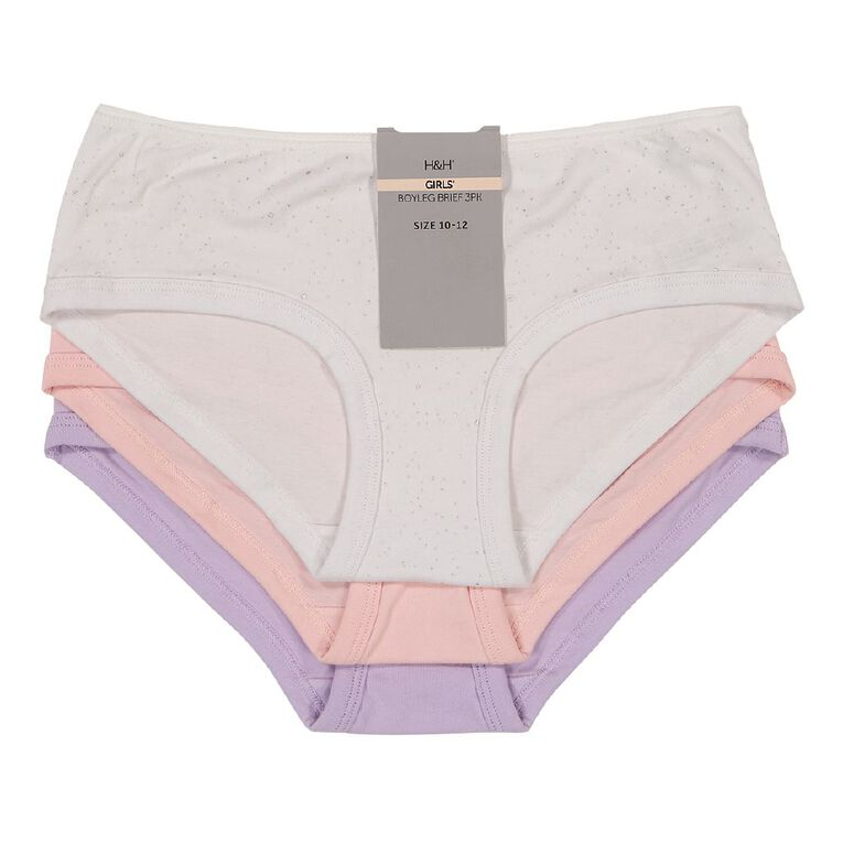 H&H Girls' Boyleg Briefs 3 Pack, White, hi-res image number null