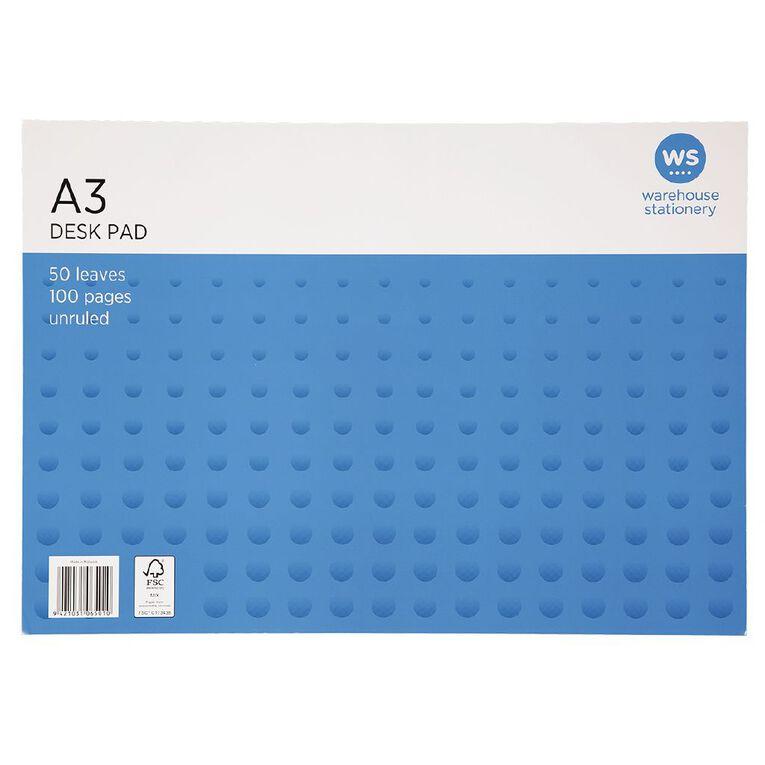 WS Desk Pad 55gsm 50 Leaf White A3, , hi-res