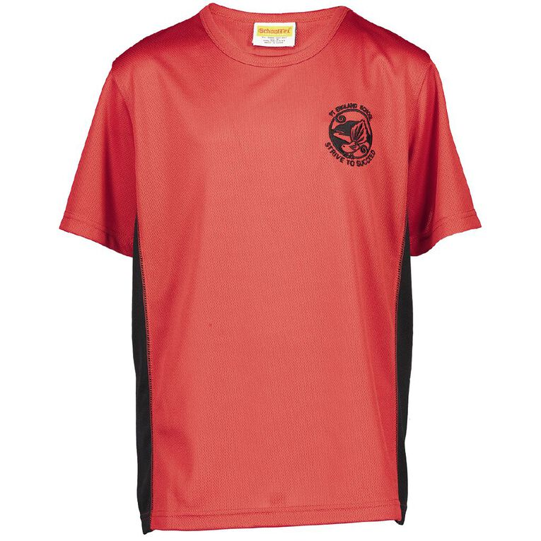 Schooltex Pt England Year 7 & 8 Only Sport Tee with Embroidery, Red/Black, hi-res