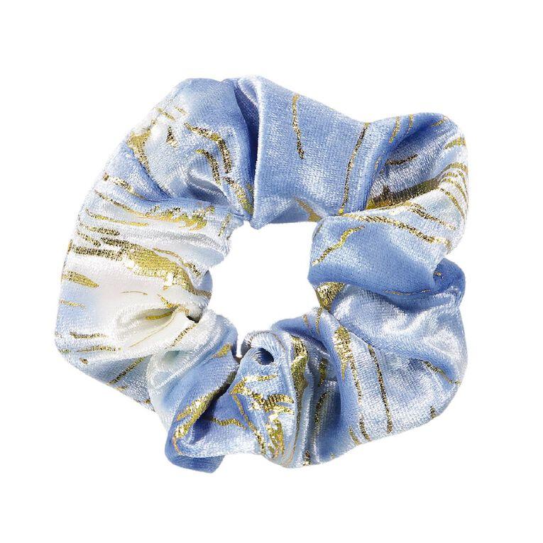 Dark Romance Blue Jumbo Scrunchie With Gold Marble, , hi-res
