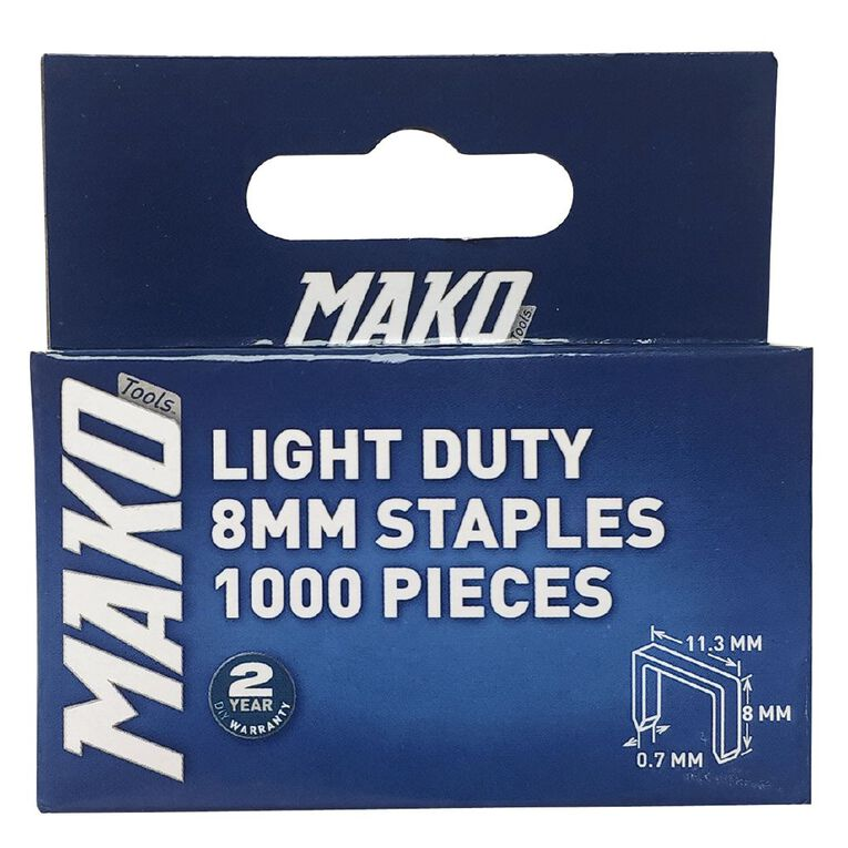 Mako Light Duty Staples 1000 8mm, , hi-res
