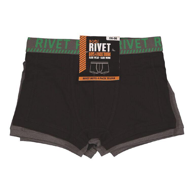 Rivet Boys' Trunks 4 Pack, Black/Grey, hi-res