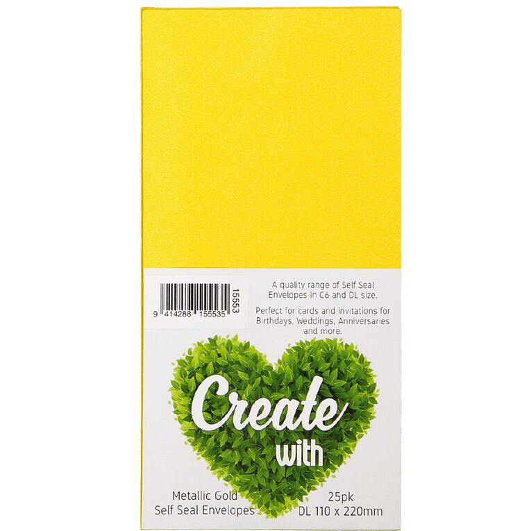 Create With DL Envelopes 25 Pack Metallic Gold, , hi-res