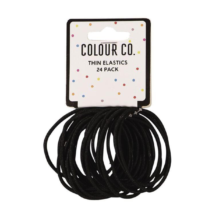 Colour Co. Thin Snagless Elastics Black 24 Pack, , hi-res