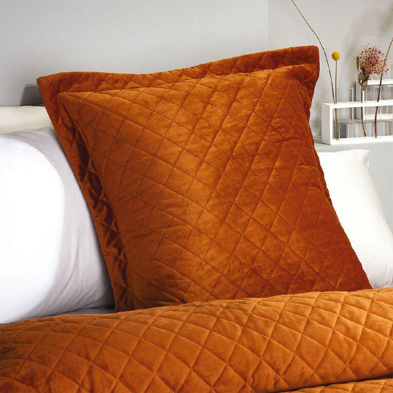 Living & Co Pillowcase Euro Velvet Pinsonic Leather Brown 65cm x 65cm, , hi-res