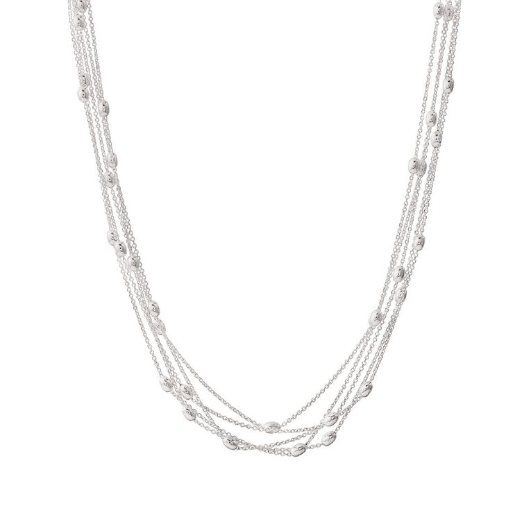 Sterling Silver Multi Layered Bead Set Chain, , hi-res