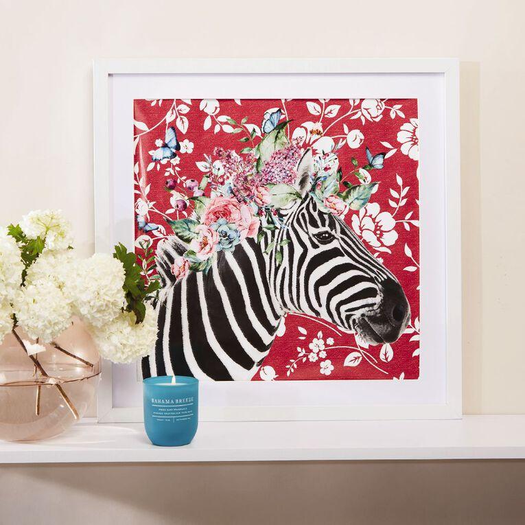 Living & Co Floral Zebra Framed Print White 50cm x 50cm, , hi-res image number null