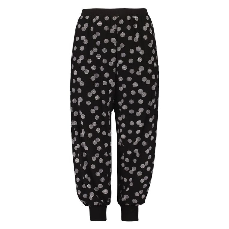 H&H Cosy Curvy Women's Allover Printed 3/4 Pyjama Pants, Black, hi-res