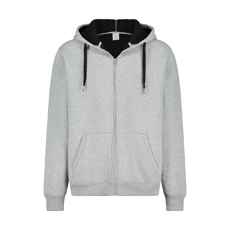 H&H Men's Sherpa Lined Zip-Thru Hooded Sweat, Grey Marle, hi-res