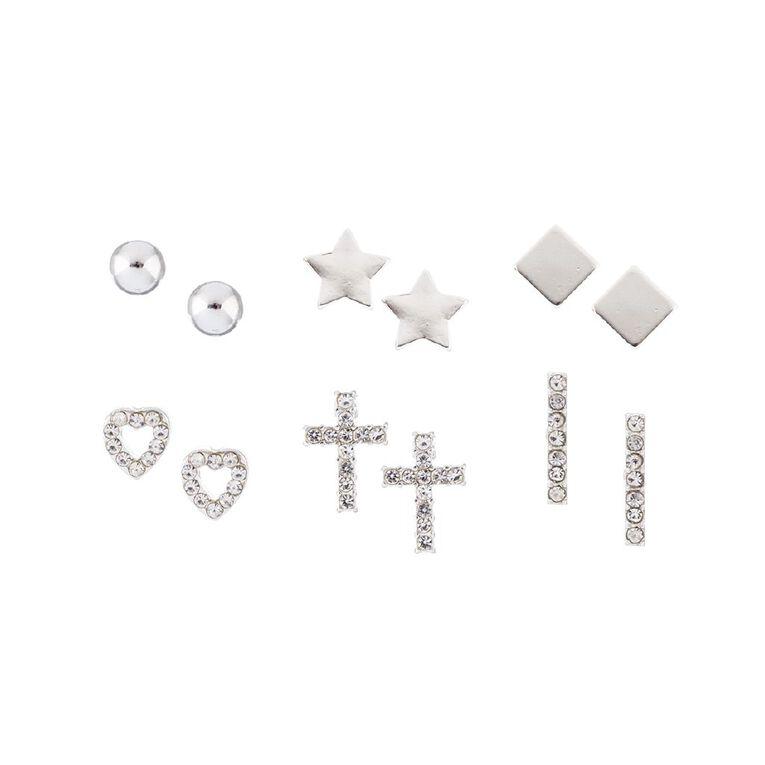Star Cross Diamante Stud Silver Earring 6 Pairs, , hi-res