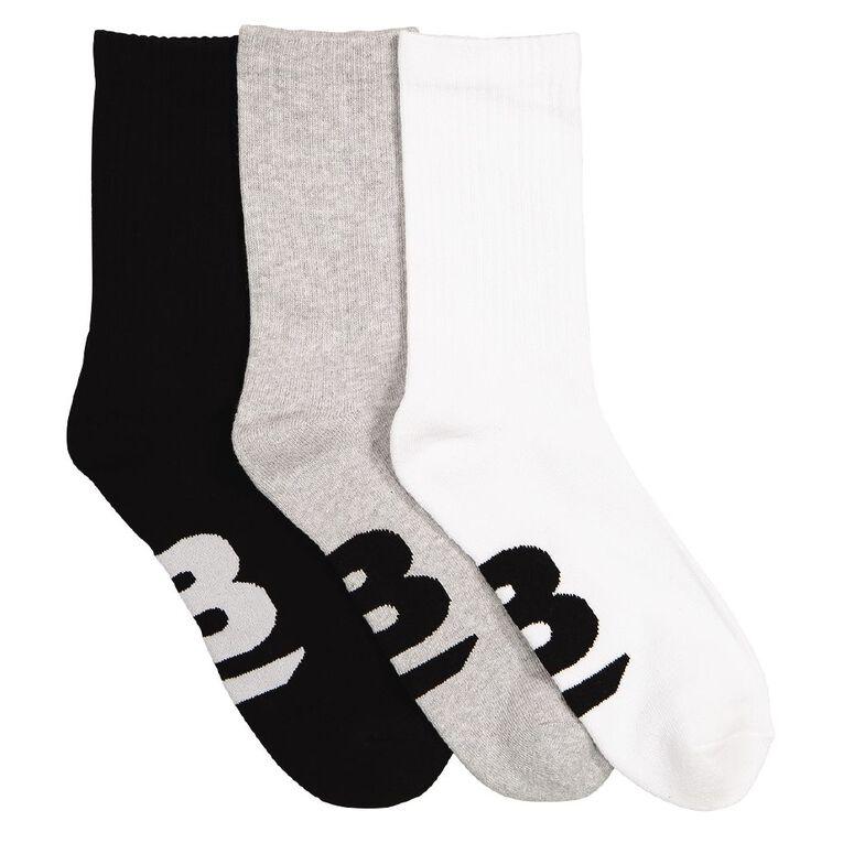 B FOR BONDS Men's Cushioned Crew Socks 3 Pack, Assorted, hi-res