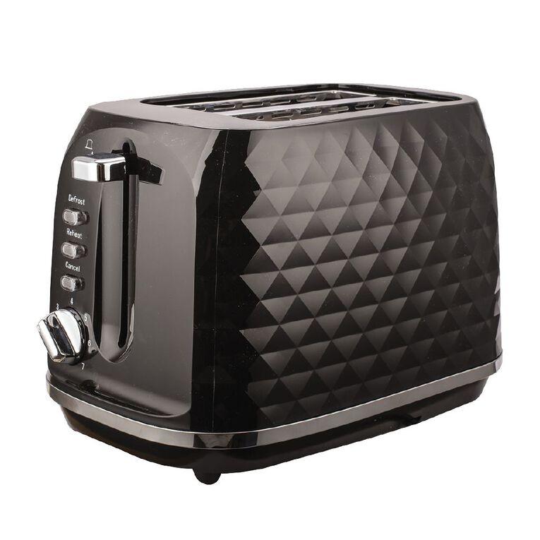 Living & Co Diamond Toaster 2 Slice Black, , hi-res