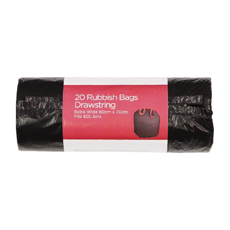 Necessities Brand Rubbish Bags 60L 80cm x 70cm Red Drawstring 20 Pack, , hi-res