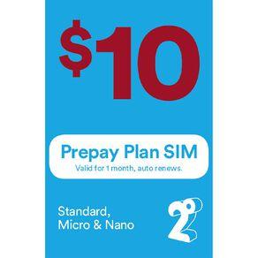 2degrees $10 Monthly Prepay Plan SIM