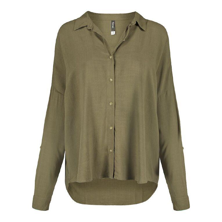 H&H Women's Long Sleeve Boyfriend Shirt, Khaki, hi-res