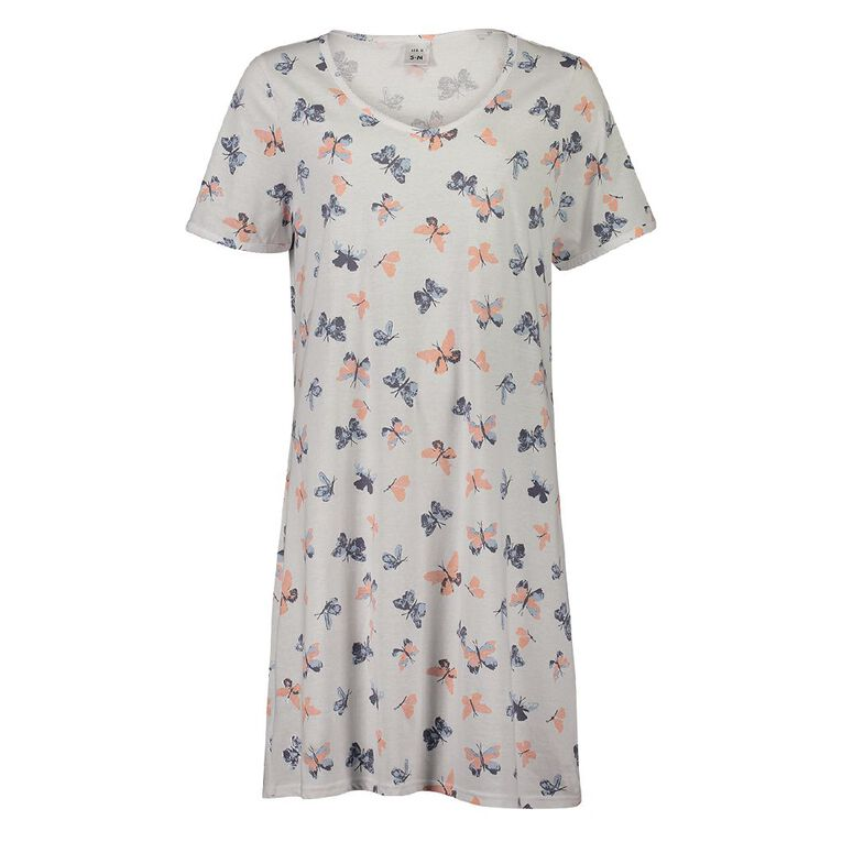 H&H Women's Short Sleeve Nightie, White, hi-res