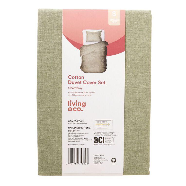 Living & Co Duvet Cover Set Chambray Slub Pesto Green Queen, Green, hi-res