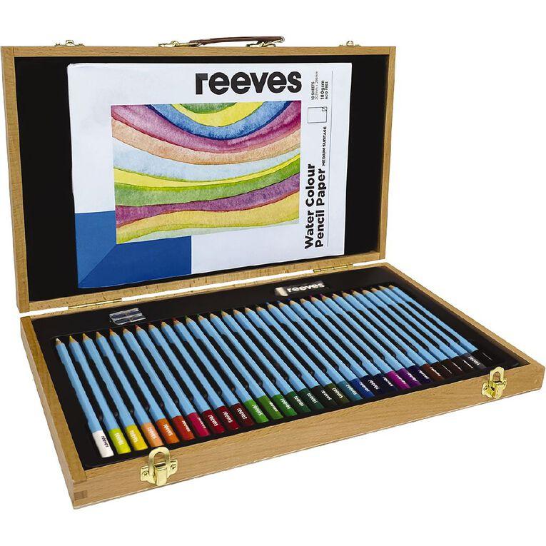 Reeves Art Set Wooden Box Watercolour Pencil 34 Piece, , hi-res
