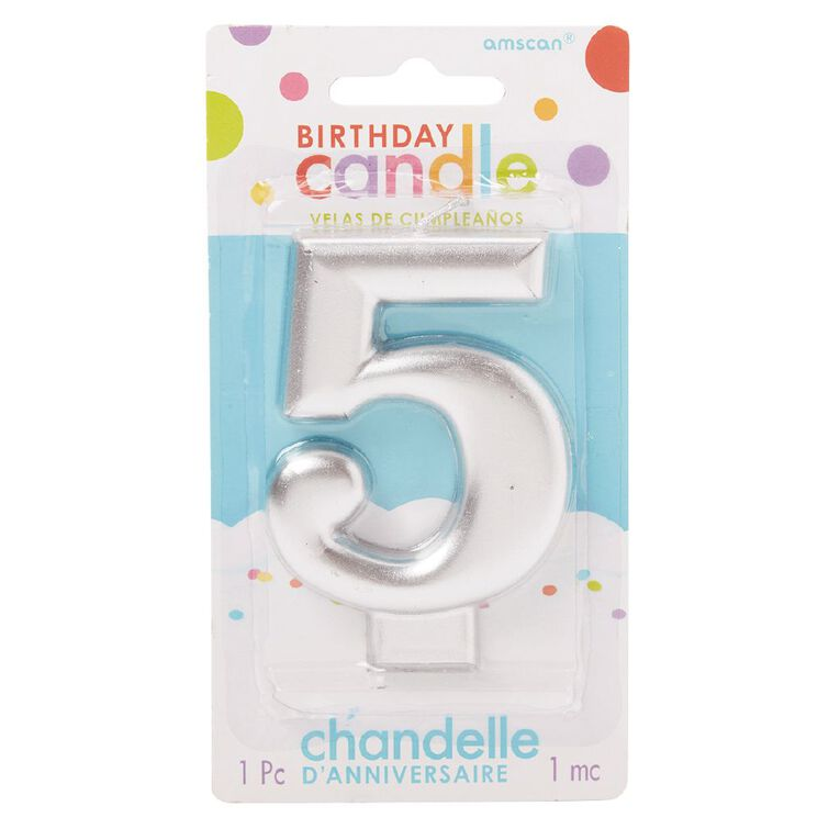 Candle Metallic Numeral #5 Silver, , hi-res