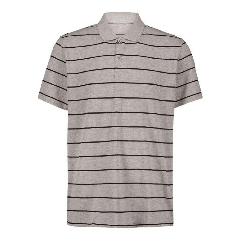 H&H Short Sleeve Striped Polo, Grey Marle, hi-res