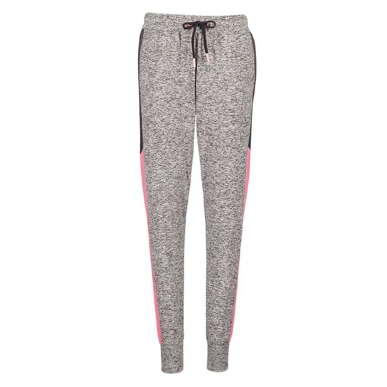 Active Intent Girls' Panelled Trackpants, Grey Marle, hi-res image number null