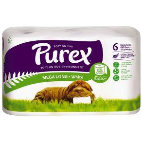 Purex Toilet Tissue Mega Roll White 6 Pack