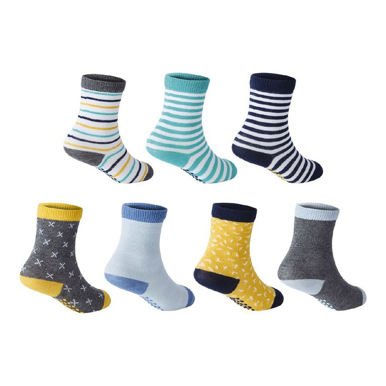 H&H Infant Boys' Jacquard Crew Socks 7 Pack, Multi-Coloured, hi-res