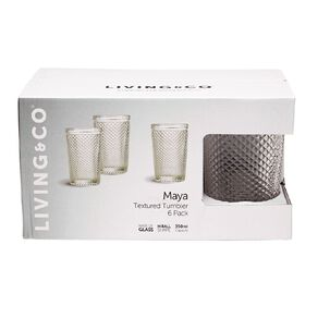 Living & Co Maya Textured Hiball Glass 6 Pack 350ml