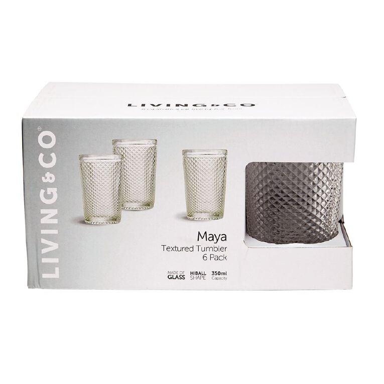 Living & Co Maya Textured Hiball Glass 6 Pack 350ml, , hi-res